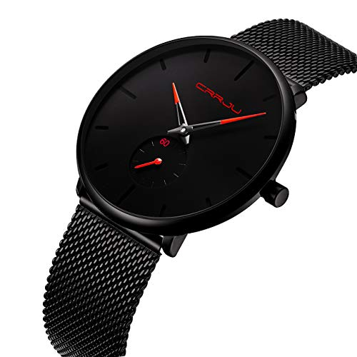 Tamlee Fashion Minimalist Quartz Analog Mens Watches with Black Milanese Mesh Stainless Steel Strap Waterproof Ultra Thin Wrist Watch in Black Face and Red ()