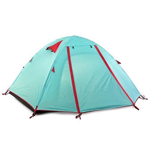連鎖花束週末テント屋外ドライブツアーキャンプダブル3-4アルミポールテントダブルライトハイキングテントダブルテント (色 : 緑)