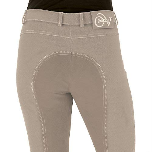 - Ovation Women's Euro Melange Full Seat Cotton Breeches, Neutral Beige, 32 Regular