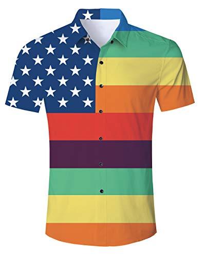 Uideazone Men Shirt Gay Pride Rainbow Male Button Down Short Sleeve Shirts Top