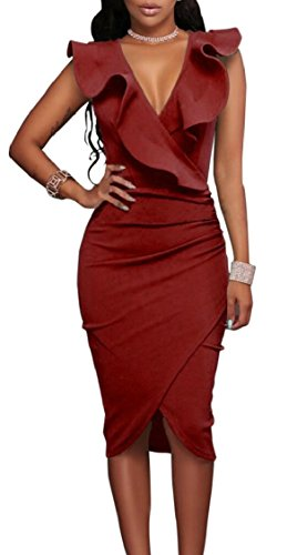 Party Womens Sleeveless Bodycon Neck Wine Jaycargogo Sexy Red V Ruffle Dress 7qnWgppS