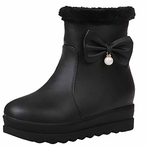 Round Pu Black Closed Boots On Heels Toe Women's AmoonyFashion Low Pull Solid wqgftcxH