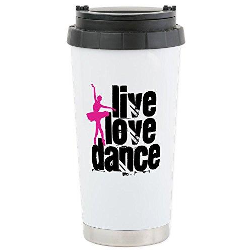 CafePress - Live, Love, Dance With Ballerina Travel Mug - Stainless Steel Travel Mug, Insulated 16 oz. Coffee Tumbler by CafePress (Image #1)