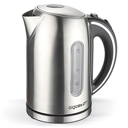 Hochwertiger Edelstahl Design Wasserkocher Teekocher Kabellos 1,7L 2200W LED Neu ... (Edelstahl)