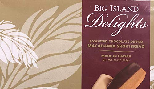 Assorted Chocolate Dipped MACADAMIA SHORTBREAD - 10oz (283g) by Big Island Delight