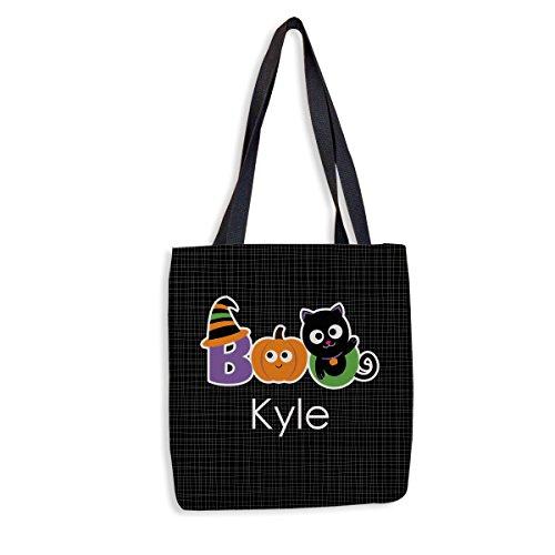 Halloween Boo Personalized Halloween Treat Bag   Custom Trick-Or-Treat Tote   Custom Printed Halloween Tote for Kids ()