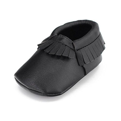 Voberry Baby Girls Soft Soled Tassel Bowknots Crib Shoes Moccasins (12~18 Month, Black)