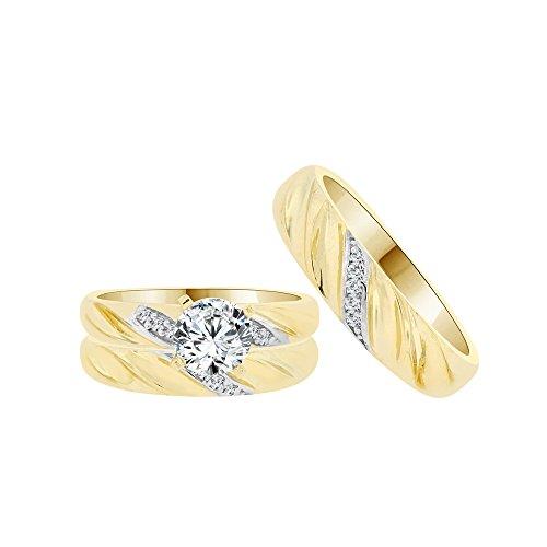 14k Yellow Gold White Rhodium, Trio 3 Piece Set Wedding Rings Round Created CZ Crystals 1.0ct