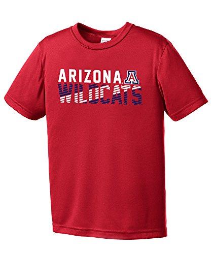NCAA Arizona Wildcats Youth Boys Diagonal Short sleeve Polyester Competitor T-Shirt, Youth Large,Red (Arizona Wildcats T-shirts)