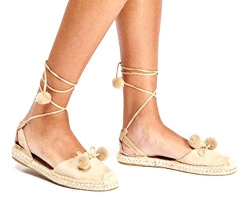 Größe Pom Espadrille Damen Pom Sommer Flat Sie Womes Schnüren Strand Definitiv Beige Schuhe Sandalen qXw17Ya