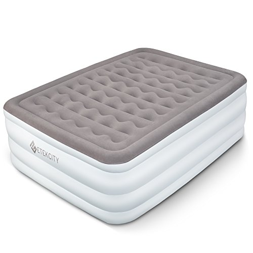 Etekcity Air Mattress Elevated Raised Blow Up Bed Inflatable Airbed with Built-in Electric Pump, Height 22', Queen Size