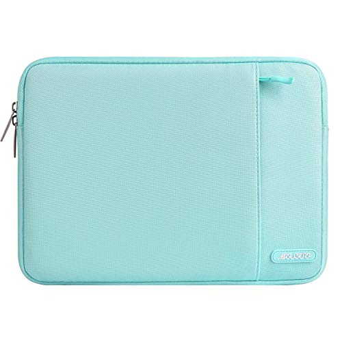 MOSISO Laptop Sleeve Bag Compatible 13-13.3 Inch MacBook Pro, MacBook Air, Notebook Computer, Vertical Style Water Repellent Polyester Protective Case Cover with Pocket, Mint Blue