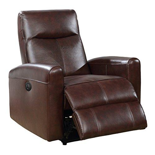 AC Pacific Eli Collection Contemporary Leather Upholstered Electric Recliner Chair With Adjustable Headrest, Low Arms, Brown (Recliner Leather Electric)