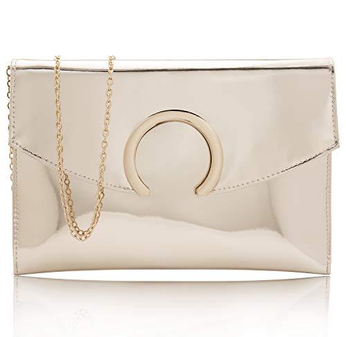 Metallic Patent Leather Clutch - Womens Evening Bags Large Envelope Clutches Purse Metallic Patent Leather Wristlet Handbag (Gold)