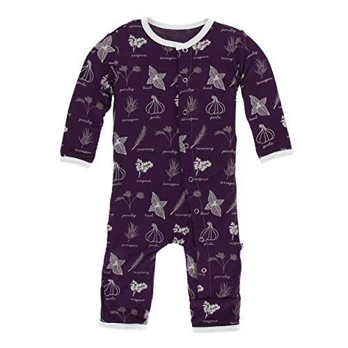 (Kickee Pants Little Girls Print Coverall with Snaps - Wine Grapes Herbs, 12-18 Months)