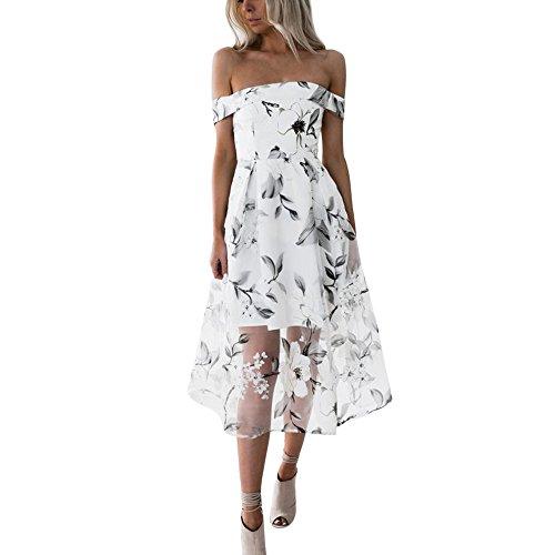Ete Robe de Femme Blanc Robe U Femme Bohme Robe nu Weant de Plage Robe Floral Chic Soire Femme Robe Imprim Soire Femme Cocktail Col paule de Femme Robe Robe HxqwXnYCW