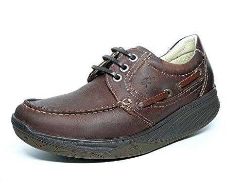 Zapatos hombre FLUCHOS - Tipo Nautico Suela Balancín en Nobuk color Marrón con cordones - 7900 - Barco Marron