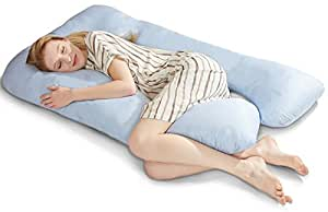 """puredown U Shaped Adjustable Maternity/Pregnancy Full Body Pillow with Zippered Cover 32"""" x 56"""" Blue"""