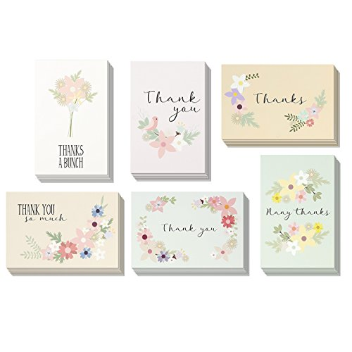 72-Pack Thank You Postcards Bulk - Floral Festival Thank You Note Cards Stationery Set, 6 Designs, 4 x 6 - First Price Class Mail International
