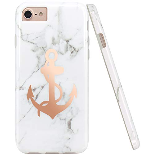 JIAXIUFEN Shiny Rose Gold Anchor White Marble Slim Shockproof Flexible Bumper TPU Soft Case Rubber Silicone Cover Phone Case for iPhone 7 / iPhone 8 / iPhone 6 6S (Iphone Anchor Case)