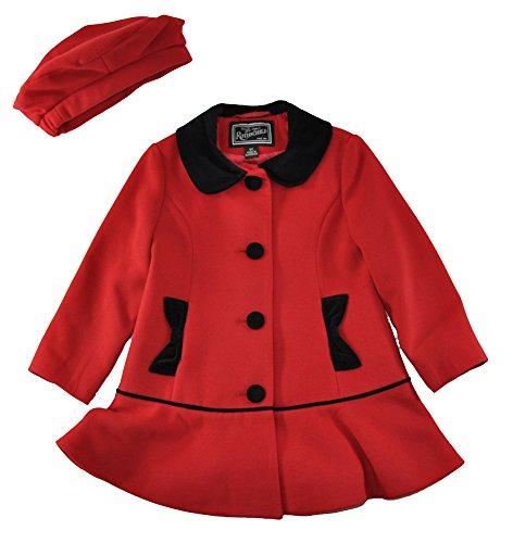 Rothschild Girls Coats - Rothschild Little Girls' Red Faux Wool Peplum Coat, Red 3T