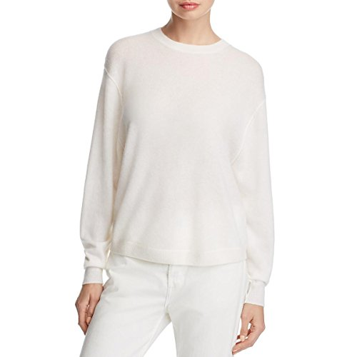 Vince Womens Cashmere Long Sleeves Crewneck Sweater White ()