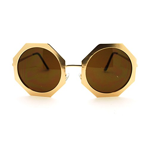 Womens Runway Octagon Round Metal Frame Designer Fashion Sunglasses - Frame Octagon
