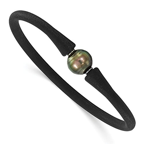 Mia Diamonds Stainless Steel Chisel and Silicone 10-11mm Tahitian Pearl Bracelet