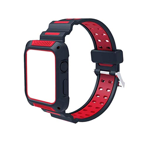 Easytoy Color Patchwork Sports Outdoor Silicone Bracelet Strap Replacement Band 38/42mmFor Apple Watch 1/2/3 (Red, 42 MM)