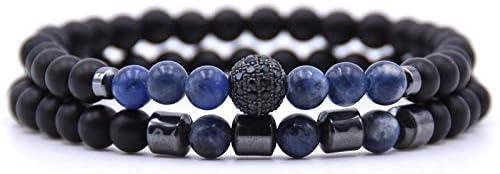 SJY Hadas Azul-Oscuro Pulsera Colgante de Piedra Natural de Bohemia Pulsera de Bolas de Hematita Perlas Pulseras para Hombres, Mujeres Couplevintage Joyería Personalizada Accesorios de Vestir