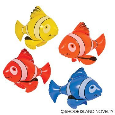 RIN 1 Dozen (12) Inflatable, Colorful Clownfish (24in. Each) / Theme Party Favor / Nemo / Decor / Gift / Prize / Giveaway by