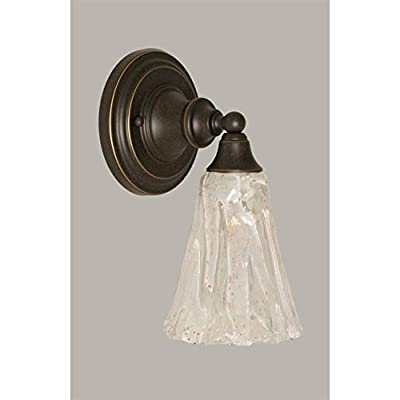 """Toltec Wall Sconce in Dark Granite with 5.5"""" Italian Ice Glass"""