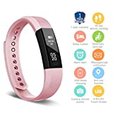 HolyHigh 115 Fitness Tracker Band for Women Girls Kids Smart Fitness Watch with Pedometer Calories Burned Sleep Monitor Facebook Whatsapp Call Alarm Notifications (Pink)