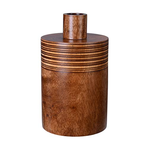 """Villacera 83-DT5733 Handmade 10"""" Mango Brown Decorative Jar with Lid 