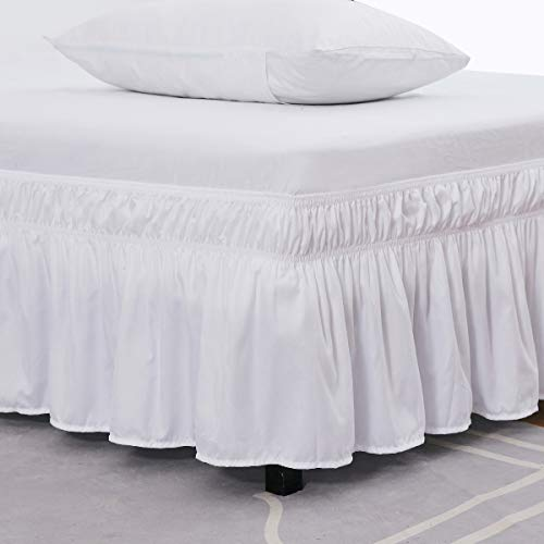 XUANDIAN Wrap Around Bed Skirt -Polyester/Microfiber Elastic Dust Ruffle Three Fabric Sides Silky Soft & Wrinkle Free Classic Stylish Look in Your Bedroom (White, Queen/King,16 Inch)