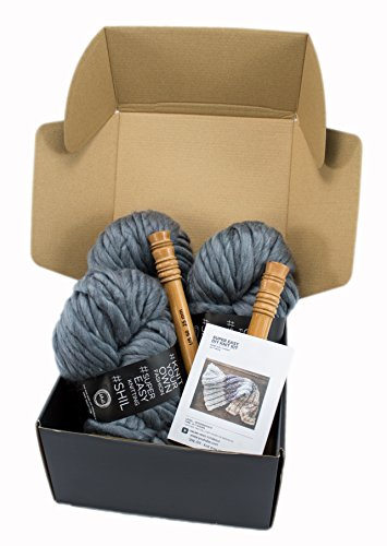 Chunky Knit Blanket DIY Kit, Super Soft Thick Yarn, Large Wood Knitting Needles US 50 (Charcoal GREY) by Rising Phoenix Industries