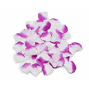 Shenglong 5000 Silk Rose Artificial Petals Supplies Wedding Decorations - White and Purple 93