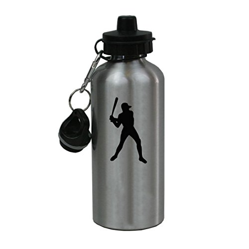 Personalized Custom Baseball Player Aluminum Silver Finish 20 Ounce Water Bottle Customizable