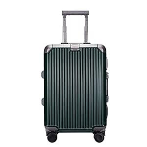 NJC Fashion Aluminum Frame Suitcase Stereo Vertical Grain Solid Color Suitcase Men and Women Luggage Storage Box