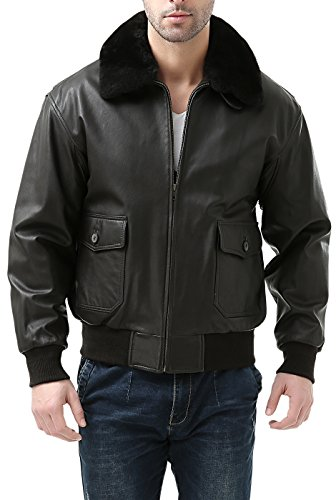 Landing Leathers Men's Premium Navy G-1 Goatskin Leather Flight Bomber Jacket - XXL