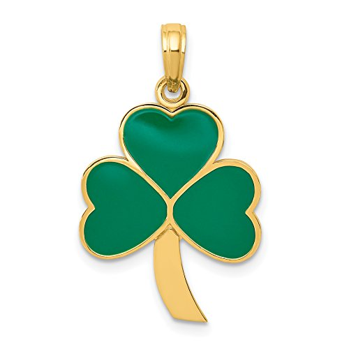 Mireval 14k Yellow Gold Green Enameled Shamrock Pendant (15 x 30 mm)
