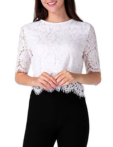 CHICIRIS Women Short Sleeve Mesh Floral Lace Sheer Crop Top Blouse White M