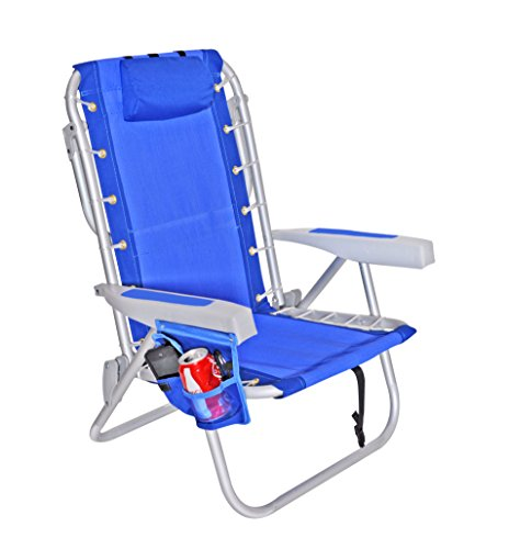 (Rio Ultimate Backpack Beach Chair w/ cooler Pouch Colors: Dark Blue w/ Cooler Pouch)