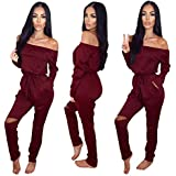 Longwu Women's Fashion Off-Shoulder Drawstring Jumpsuits Rompers Knee Hole Pants Wine Red-XL