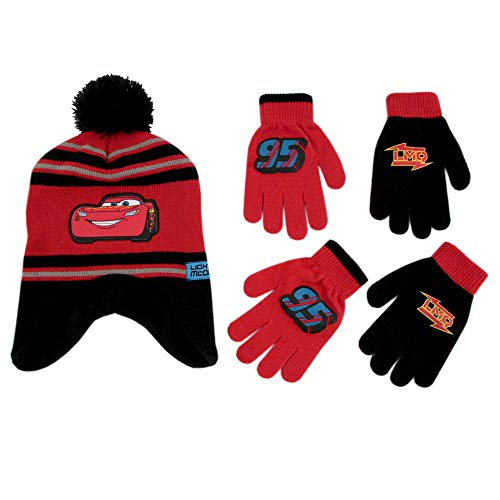 Disney Cars Hat and 2 Pair Mittens or Gloves Cold Weather Set, Little Boys, Age 2-7 (Black, Red Design - Age 4-7 - Gloves Set)