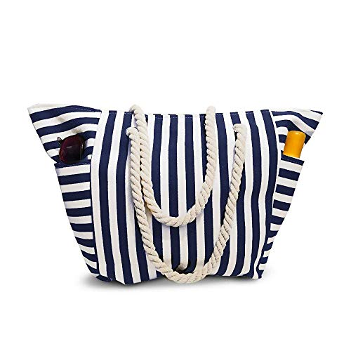 (Beach Bag Canvas With Waterproof Inside Lining - Outer Pockets for Bottles from Moskus Gear - Striped Pool Tote & Bonus item)
