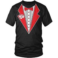 Love Tux, Heart Faux Tuxedo, Valentine's Day Tux Men's T-shirt, Amdesco, Black Large