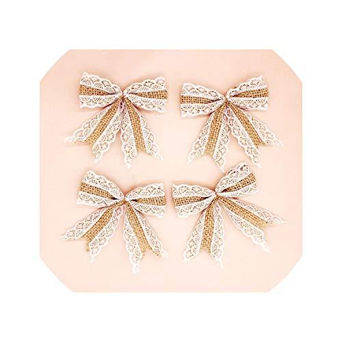 10pcs Vintage Natural Jute hessian bows lace ribbon trim rustic Wedding Decoration marriage party decor bowknot #272841,jute bowknot 05 ()