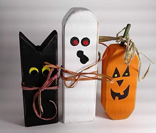 Halloween Decorations, Cat, Ghost, Jack-O-lantern - Set of Three]()