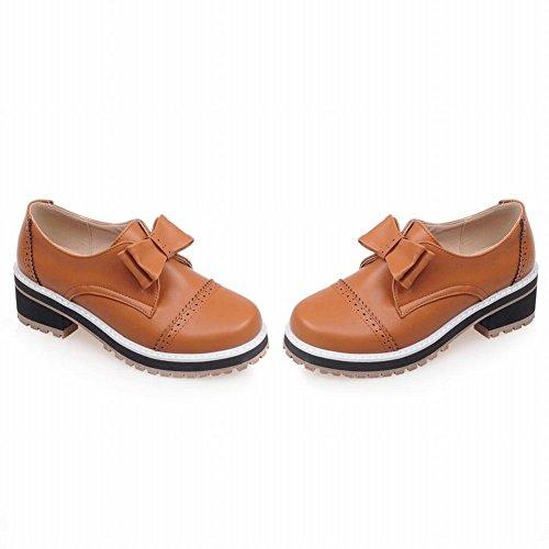 Carolbar Womens Bows Retro Fashion Comfort Low Heel Casual Shoes Yellow Brown qlFKB